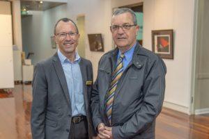 Cr Michael Enright with Beaudesert Chamber of Commerce President David Kassulke.