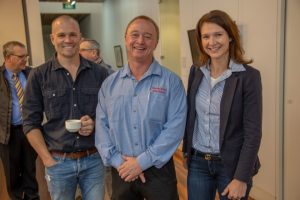 James Bartle of Outland Denim, Mark Rowe of Rowe Auto Electrical and Lyndall Browning of Bloom Motel Marketing.