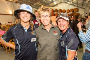 Robyn Lee of Greenlee Farm (centre), Tessa Taft and Lisa Bradley of Oz Paragliding and Hang Gliding.