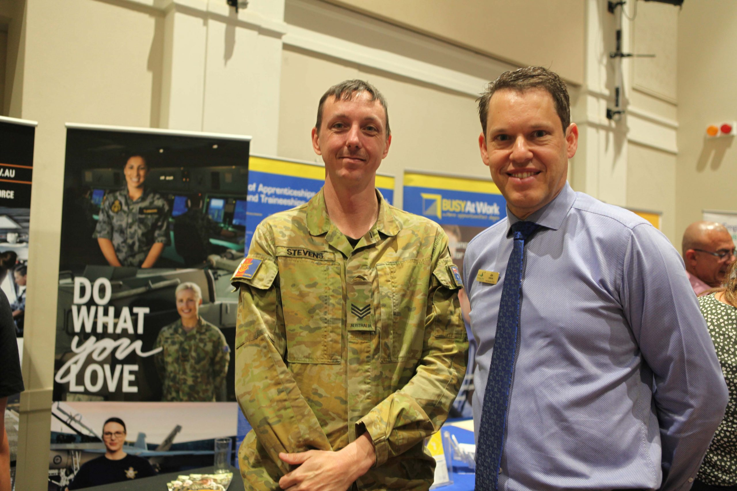 Sergeant Jason Stevens with Scenic Rim Regional Council CEO Jon Gibbons.