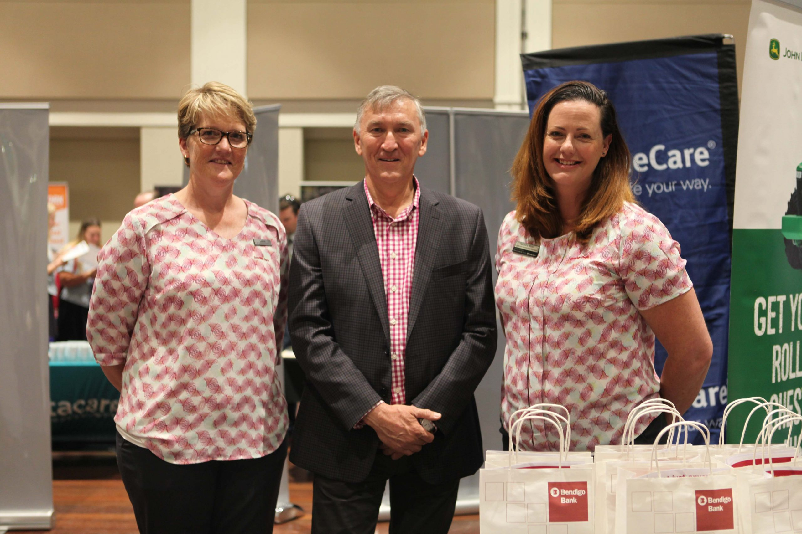 Mayor Greg Christensesn with Leanne Gretgrix and Natasha Miller of Bendigo Bank.