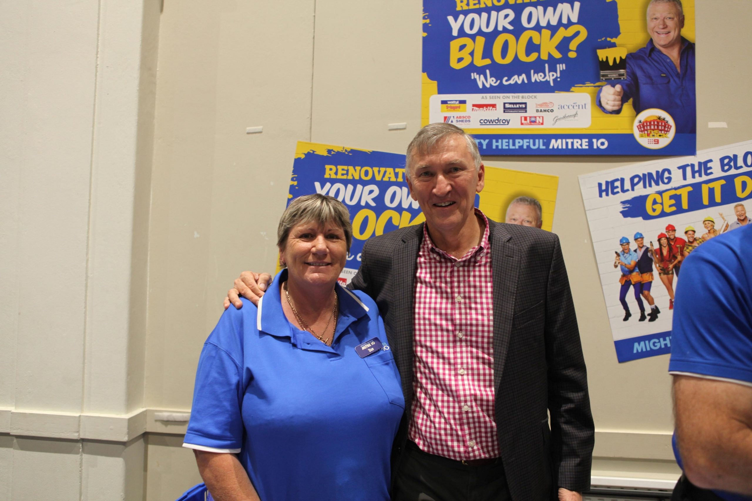 Sue Rodwell of Mitre 10 with Scenic Rim Mayor Greg Christensen.