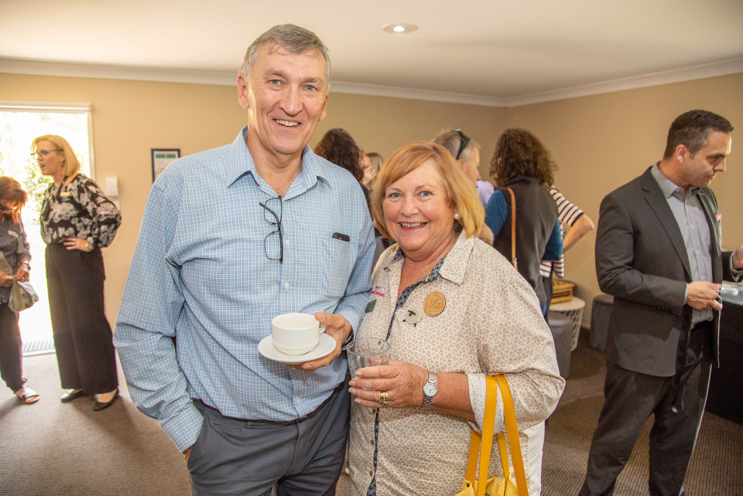 Mayor Greg Christensen, Carolyn Davidson of Towri Sheep Cheeses.