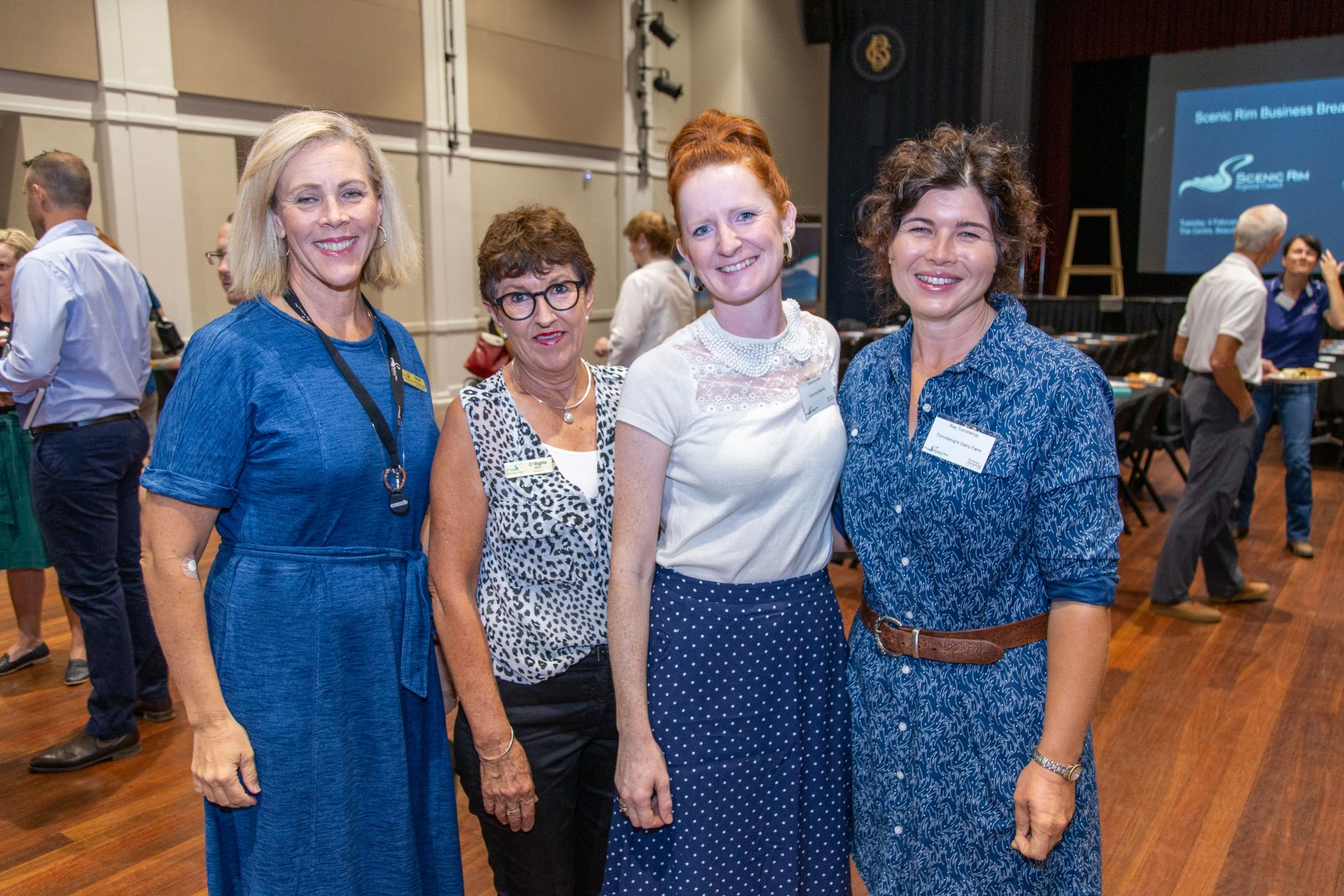 Brenda Walker, SRRC, Cr Virginia West, Gemma Irwin, Coco & Myrtle and Kay Tommerup of Tommerup's Dairy Farm at the February business breakfast.