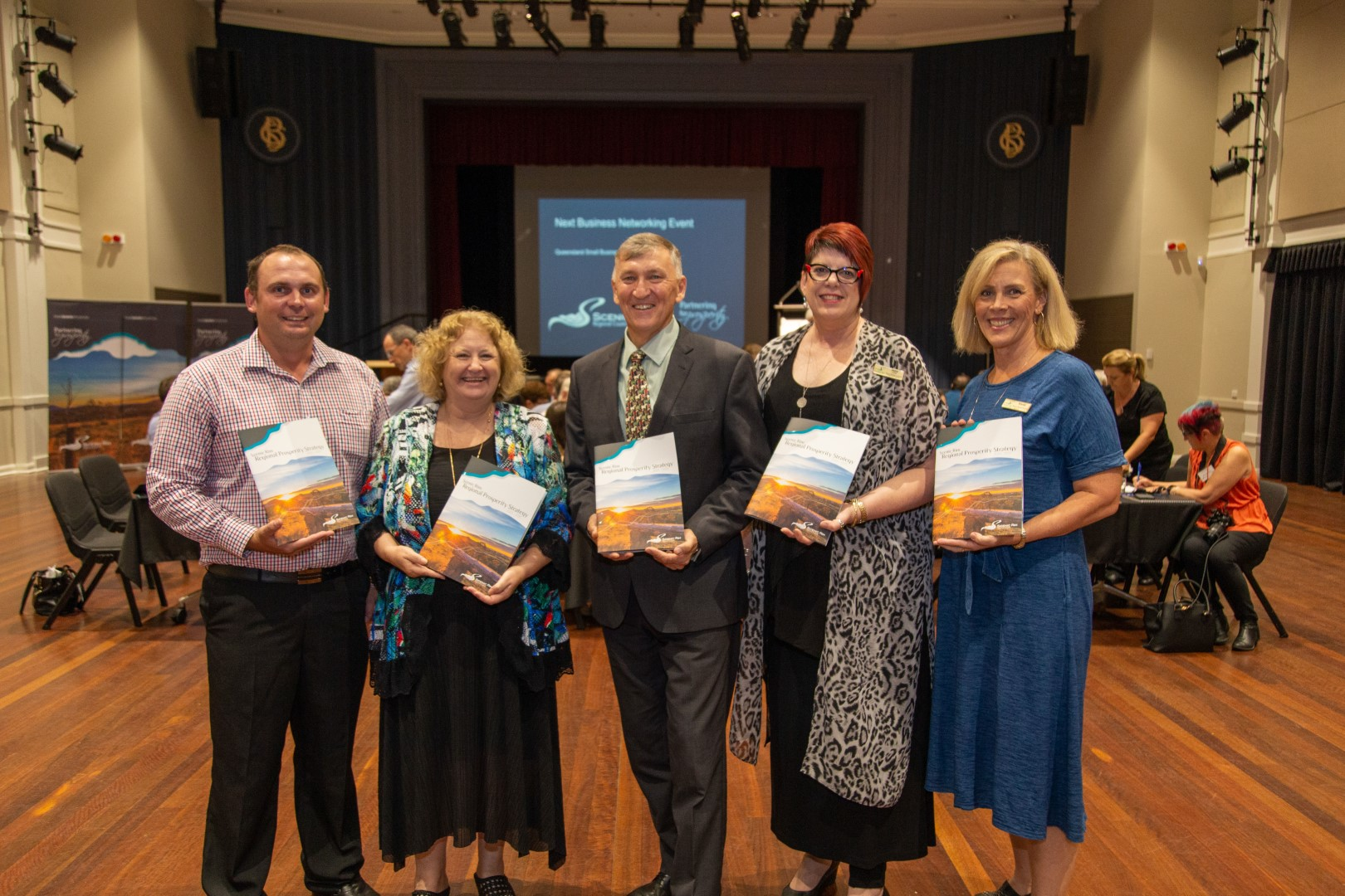 Cameron Thomas, Donna Foster, Mayor Greg Christensen, Debra Howe and Brenda Walker of Scenic Rim Regional Council celebrate the launch of the Regional Prosperity Strategy at the February business breakfast.
