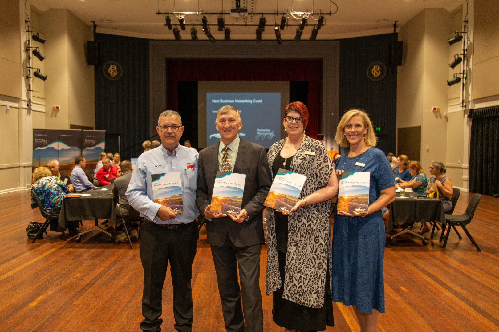 David Kassulke, Beaudesert Chamber of Commerce, Mayor Greg Christensen, Debra Howe and Brenda Walker, Scenic Rim Regional Council celebrate the launch of the Regional Prosperity Strategy at the February business breakfast.