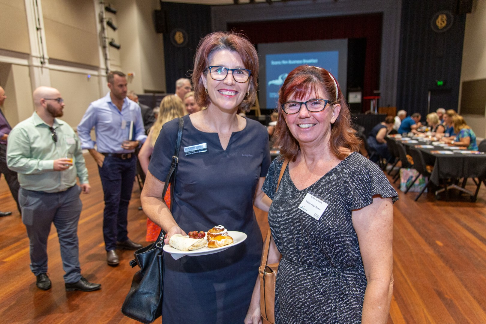 Vanessa Skinner, Bendigo Bank Canungra and Robyn Fortescue, Wallaby Ridge Retreat at the February business breakfast.